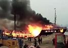 中国仿古福船失火