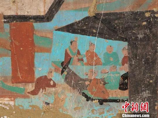 图为莫高窟第12窟中描绘的晚唐时期的帐篷酒肆。敦煌研究院供图