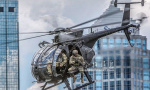 闹市区现战车直升机!