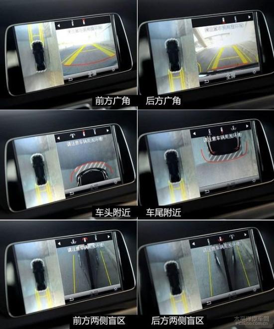 这套强悍的全景影像系统,依靠车头、车尾以及两个反光镜下的摄像