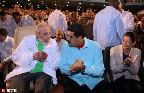 在古巴现任领导人劳尔卡斯特罗与委内瑞拉总统马杜罗的陪同下,前
