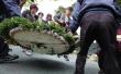 朴槿惠父亲追悼会开始前文在寅所送花圈被人撤掉