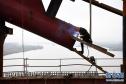 商合杭铁路跨淮河特大桥钢管拱提升合龙