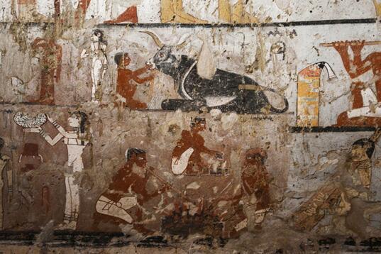 图为资料图片,显示了古王国时期女祭司海特佩特古墓内保存完好的罕见壁画。图片来源:法新社/穆罕默德?埃尔?沙赫德。