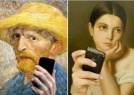 博物馆的世界名画玩自拍