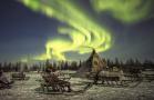 西伯利亚的极光和驯鹿