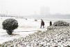 雪后的沙澧河风景区:雪下得不大但是很迷人