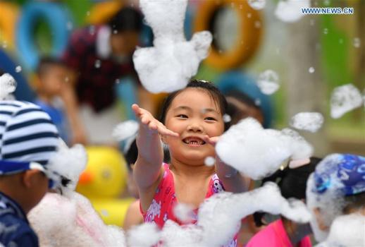 Children have fun at kindergarten in Shijiazhuang, N China