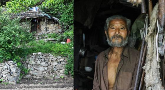 71岁老人住山洞过原始生活拒绝下山