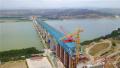 蒙华铁路三门峡黄河公铁两用大桥紧张施工