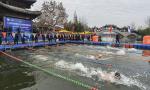 山东枣庄:中外冬泳健儿竞渡古运河